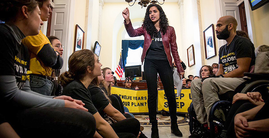 Varshini Prakash and members of the Sunrise Movement occupying Speaker Nancy Pelosi's office to demand a Green New Deal.